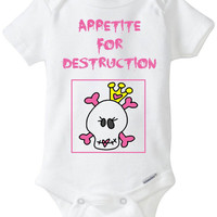 Baby Girl Pink Goth Skull Tiara Halloween Funny Onesuit: Appetite For Destruction - New Baby Gift / Baby Shower Present / Funny Onesuit