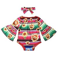 Colorful Serape and Sunflower Romper for Your Precious Babe
