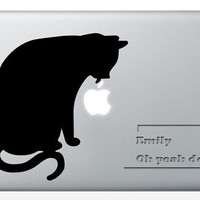 Cat licking Apple  Apple fragrance - Decal laptop MacBook pro decal MacBook decal MacBook air sticker
