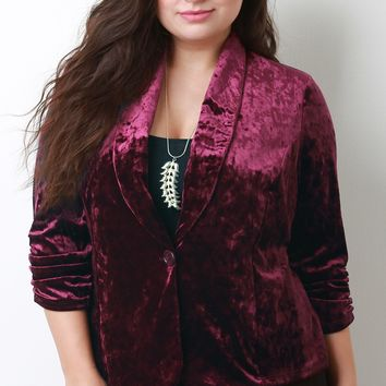 Crush Velvet Single Button Blazer