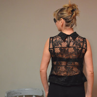 Black silk blouse , back lace, handmade,  sewed by myself, classic silhouette, eco-friendly.