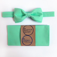Men's Wedding Set Pre Tied Bow Tie and Pocket Handkerchief by BartekDesign: mint green cotton