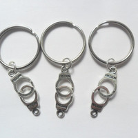 3 best friends handcuff keychains partners in crime bff couples sisters BFF