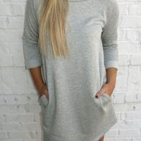 3/4 Sleeve, T-Shirt Dress, with Pockets