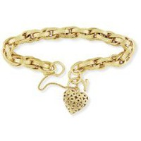 Jewelco London 9ct Yellow Gold - - Victorian Prince of Wales Charm with Embossed Links and Heart Padlock Bracelet - rt Padlock