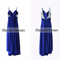 Royal Blue Beaded Long Prom Dress 2016