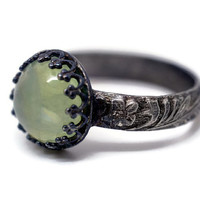 10mm Prehnite Ring, Renaissance Gemstone Ring, Floral Band, Oxidized Silver Ring,