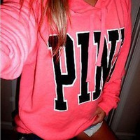 Victoria S Secret Pink Print Pattern Fashion Women Loose Long Sleeve Hoodie Top Sweater Pink I