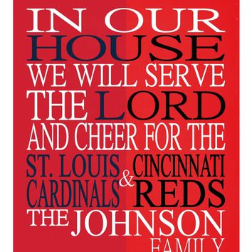 A House Divided St. Louis Cardinals & Cincinnati Reds Baseball personalized family print poster Christian sports wall art - multiple sizes