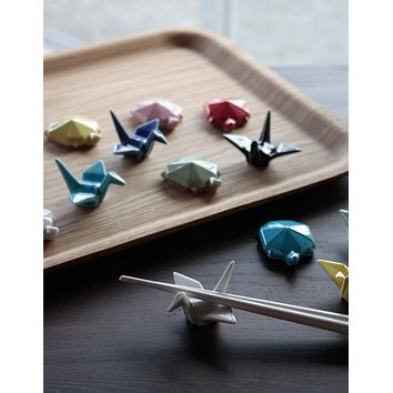 Colorful Seto-yaki Origami Chopstick Rest