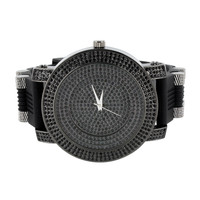 Iced Out Dial Watch Black Lab Diamonds Black Bullet Rubber Band