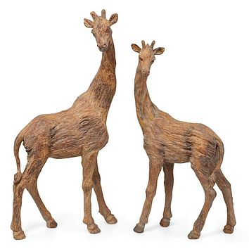 Significantly Creative Resin Male & Female Giraffe, Brown (Set of 2)
