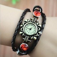 Handmade Vintage Style Leather Watch For WomenMagicPiece Handmade Vintage Style Leather Watch For Women Flower Shape Watch with Leather Belt and Rhinestone in 3 Colors-Red
