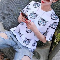 """Gucci"" Personality Cat Head Print Women Casual Short Sleeve T-shirt Top Tee"