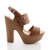 Rudy11 Tan Pu By Breckelle's, Strappy Multi Buckle Faux Wooden Platform Chunky Heel Sandals