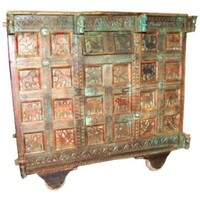 Antique Console Chest on Wheels Hand Carved Storage Trunk Sideboard Indian Furniture