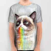 Cat Tastes the Grumpy Rainbow   Watercolor Painting All Over Print Shirt by Olechka