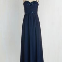 Long Strapless Empire Receiving Line Dress in Navy