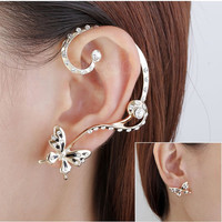 Free Shipping 1 Pair Ladies Chic Lovely Crystal Rhinestone Butterfly Ear Cuff Clip Earring New