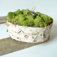 Ring Bearer Pillow Birch Bark Rustic Woodland by jadenrainspired