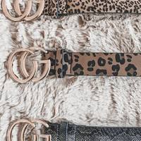 Pick Your Poison CG Animal Print Leather Belts with Gold Buckle