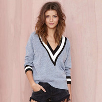 Color Block V-Neck Long Sleeves Ribbed Knitted Top