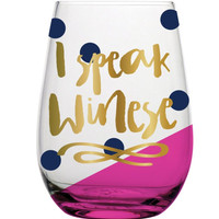 I speak Winese Stemless Glass by Slant