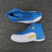 PEAPONVX Jacklish New Air Jordan 12 White Blue Gold For Sale