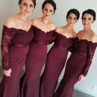New Bridesmaid Dress 2017 Chiffon Burgundy Off Shoulder Mermaid Wedding Party Gowns With Lace Appliques Maid of Honor Dress