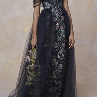 Plunging Neckline Embroidered Gown | Moda Operandi