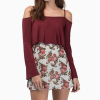Long Sleeve Spaghetti Strap Off- Shoulder Crop Top - Wine Red