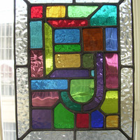 Initials! Beautiful Personalized Stained Glass Monogram Name Panel