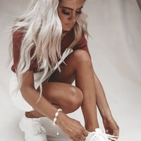 On the Rise White Platform Dad Sneakers