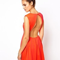 Glamorous Neon Skater Dress with Open Back at asos.com
