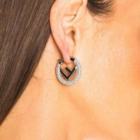FENDI Hot Sale Women Chic All Diamond F Letter Circular Earrings Accessories Jewelry