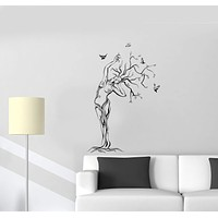 Wall Decal Nature Naked Girl Tree Birds Woman Vinyl Sticker Unique Gift (ed801)