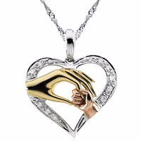 Mother And Child Pendant Gift For Mom Golden Mom Charm Necklace Hand Heart Love Mom Family Jewelry Big Sale