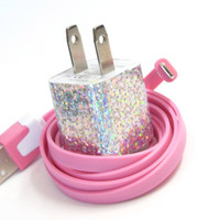 Silver Glitter Fun iPhone Charger with Color USB Cable