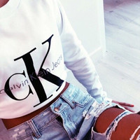 Calvin klein jeans  Hot sexy letters printing female sweater pullovers White