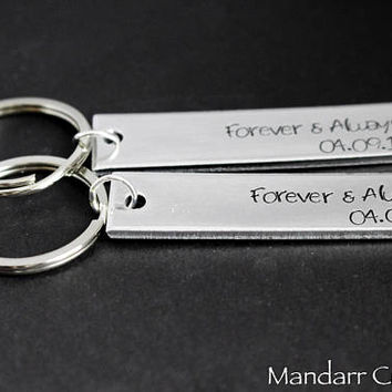 Forever and Always Custom Anniversary Keychain Set, Includes Two Hand Stamped Aluminum Keychains for Couples or Best Friends