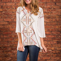 Living It Up In Paradise Tunic, Ivory