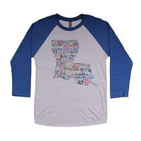 Louisiana Cities and Towns Raglan Tee Shirt in Royal Blue by Southern Roots