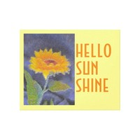 canvas wrap sunflower art hello sunshine stretched canvas print