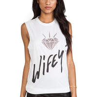 The Laundry Room Wifey Glitter Muscle Tee in White
