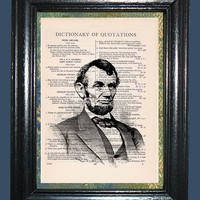Abraham Lincoln - Vintage Dictionary Book Page Art, Upcycled Book Art, Print on Vintage Dictionary Book Page