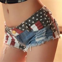 shorts women new sexy printing U.S.A National flag Mopo Flash Trendy Hot short feminino denim shorts jeans  short jeans
