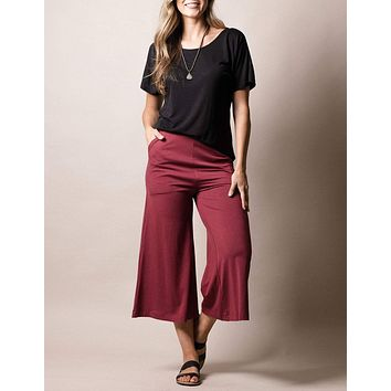 Bamboo Crop Pants - Tibetan Red - As Is Clearance - XL Only