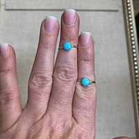 Single Stone Genuine Turquoise Sterling Silver Ring