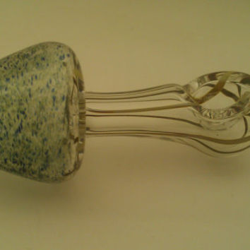 "Glass pipe, Mushroom shaped spoon Pipe with Smurf Fart colored Cap, Color Changing 4-1/4"" tall"