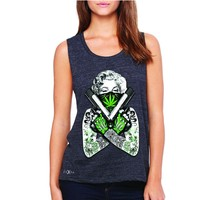 Zexpa Apparel Marilyn Monroe Weed Bandana Women's Muscle Tee American Beauty Guns Tanks